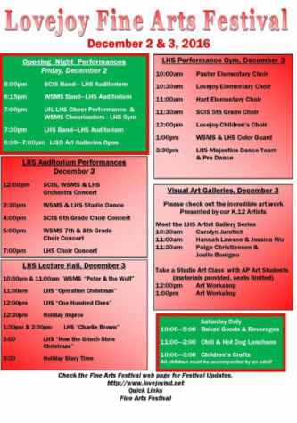 Many different art forms will be displayed throughout the day at the Fine Arts Festival from all grade levels. Here is the schedule.