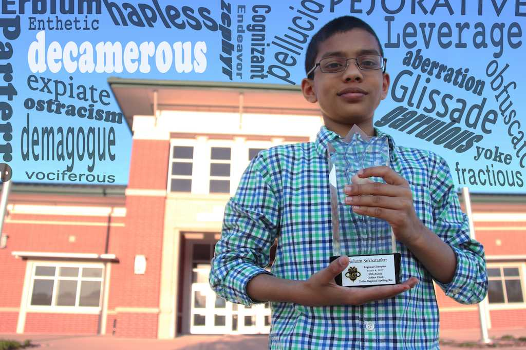 "Fifth grader Solum Sukhatankar won the Golden Chick Regional Spelling Bee with the word ""decamerous"