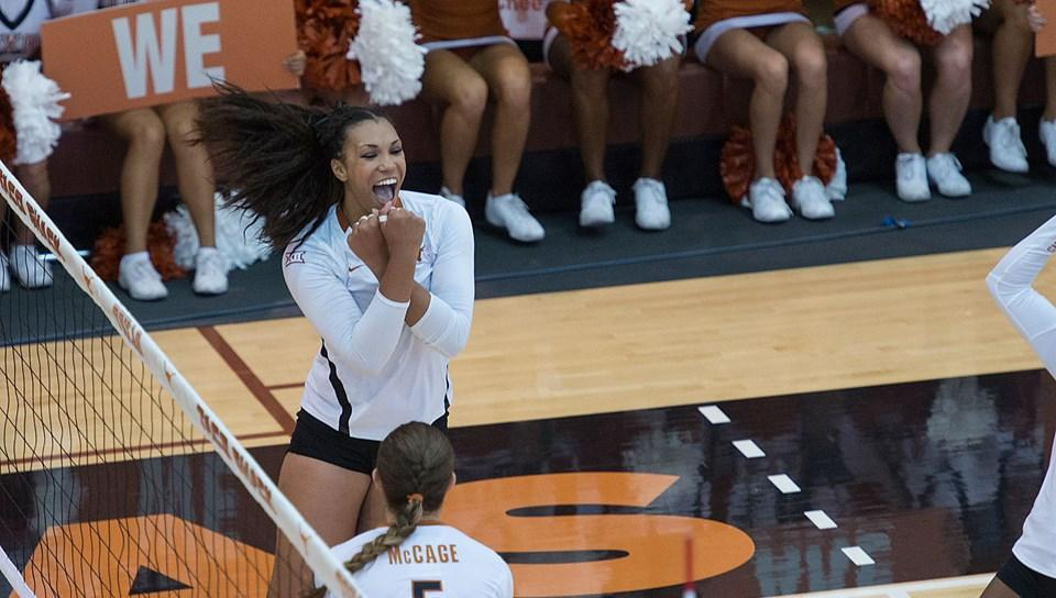 Nwanebu led the team with 13 kills against the #1 Nebraska, leading Texas to win the match.