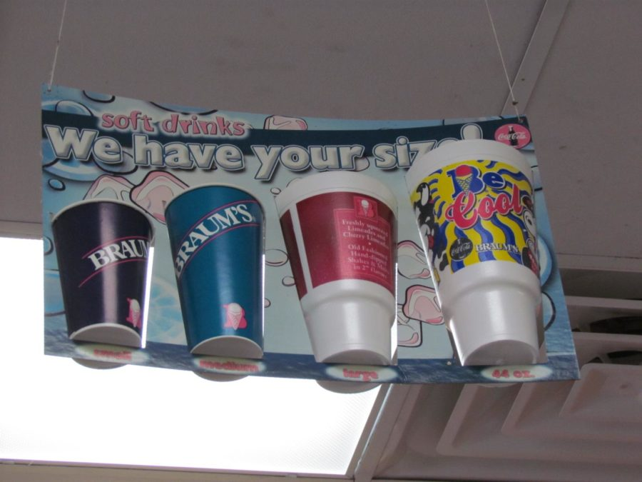 Drink size choices available at the popular ice cream store Braum's.
