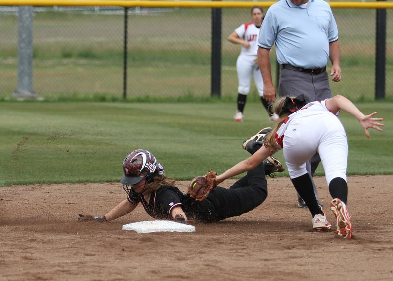 Senior Sammi Curry steals second, earning an extra base and putting herself in scoring position.