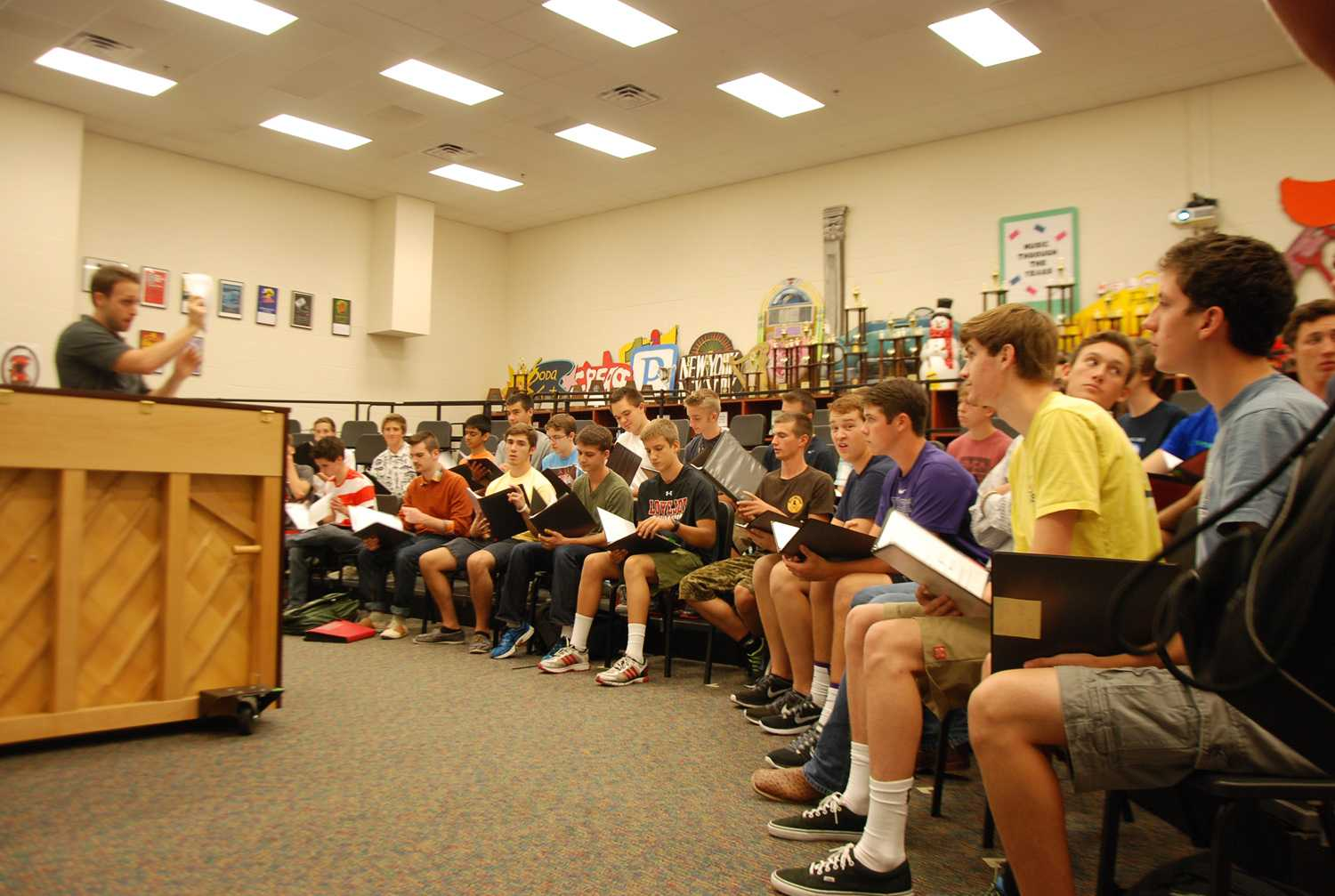 The choir rehearses for the upcoming UIL competition under the instruction of Chris Mason.