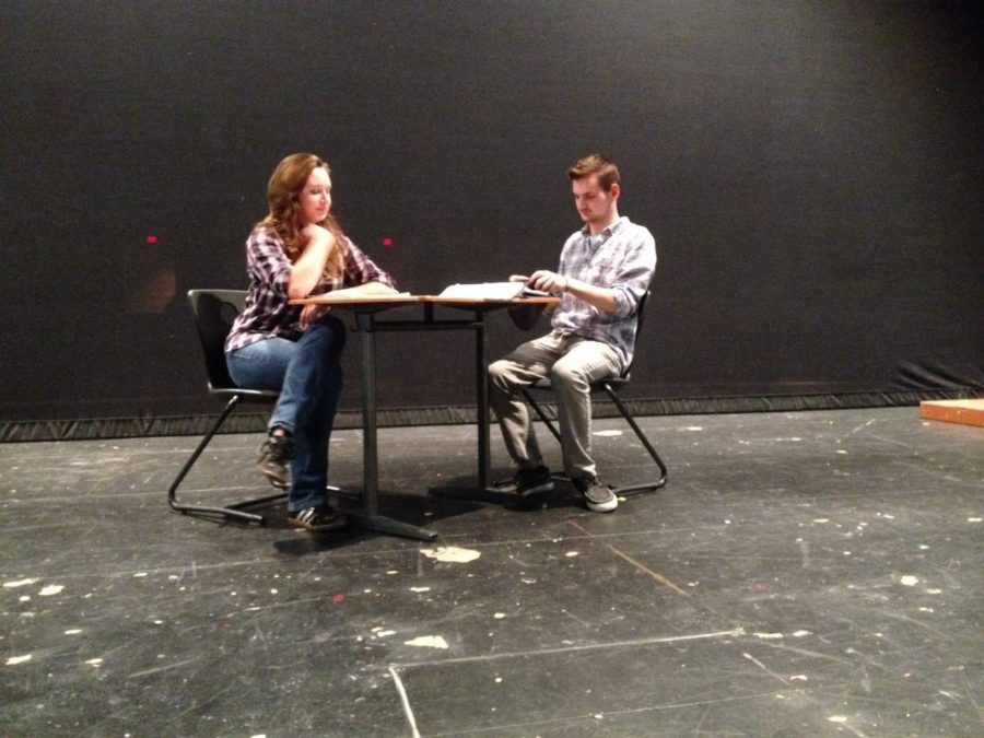 Production+class+students+Jak+Barth+and+Amy+Bogucki+rehearse+a+scene+from+All+in+the+Timing.