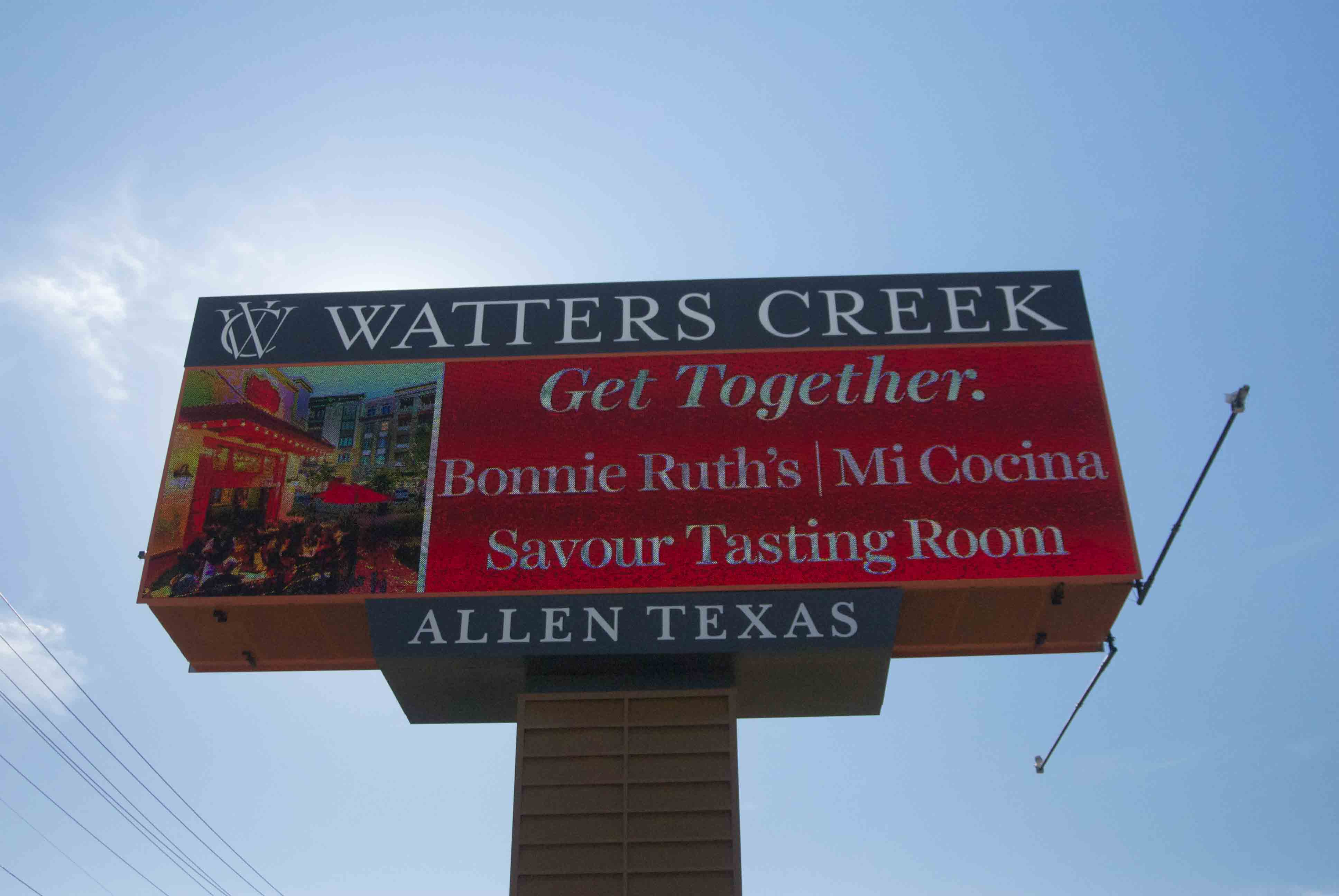 Shopping center Watter's Creek is planning new improvements, including this electronic billboard.
