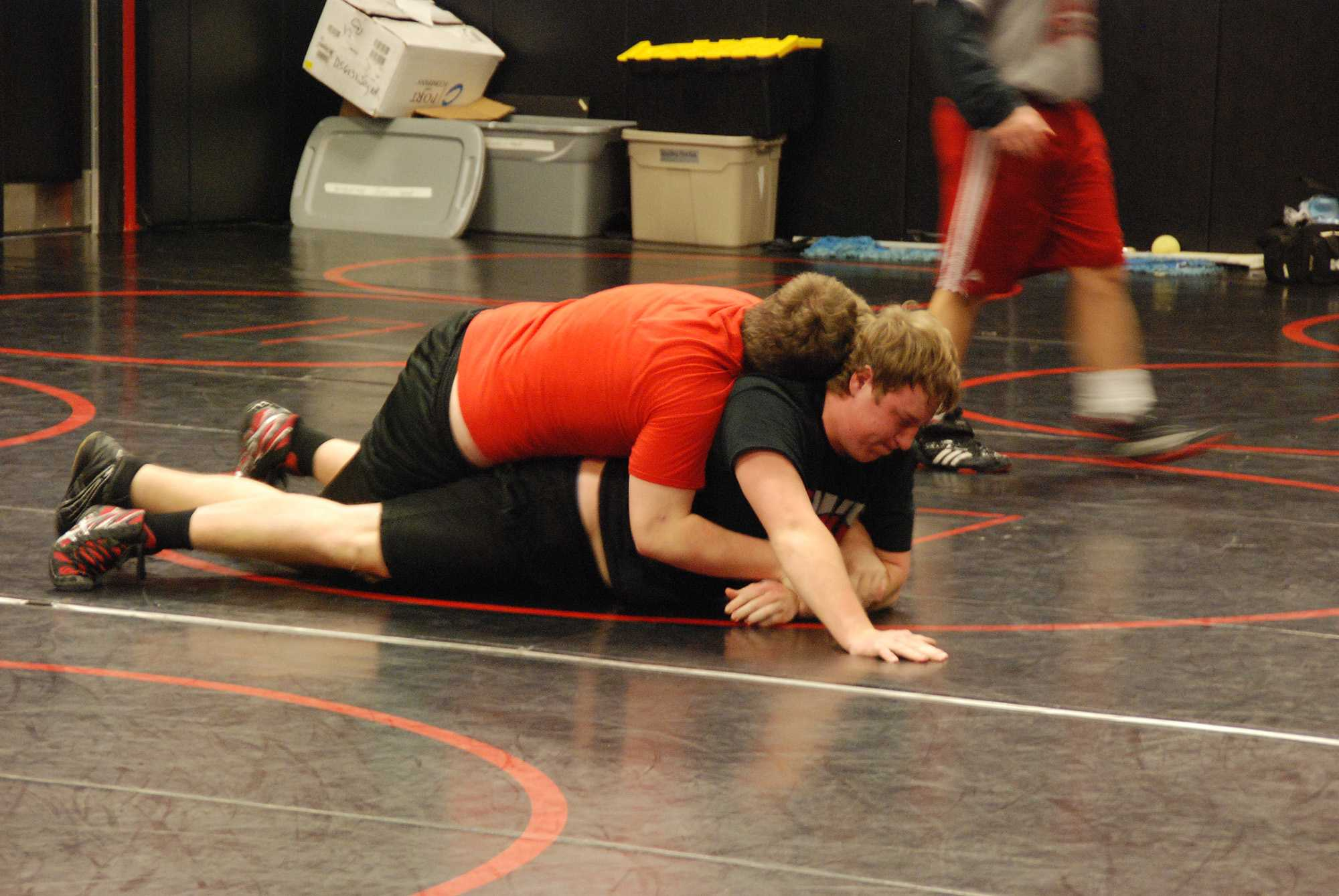 The Leopard wrestling team has one wrestler competing in the state tournament Feb. 14-15 with another listed as an alternate. Senior Camdon Droge is going for a title in the 170 lb. weight division while sophomore Tom Elvin (pictured above) is an alternate in the 285 lb. division.