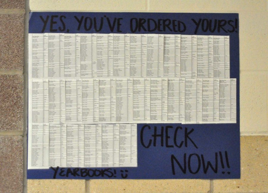 Students can check to see if they have purchased a yearbook on the lists outside of E107.