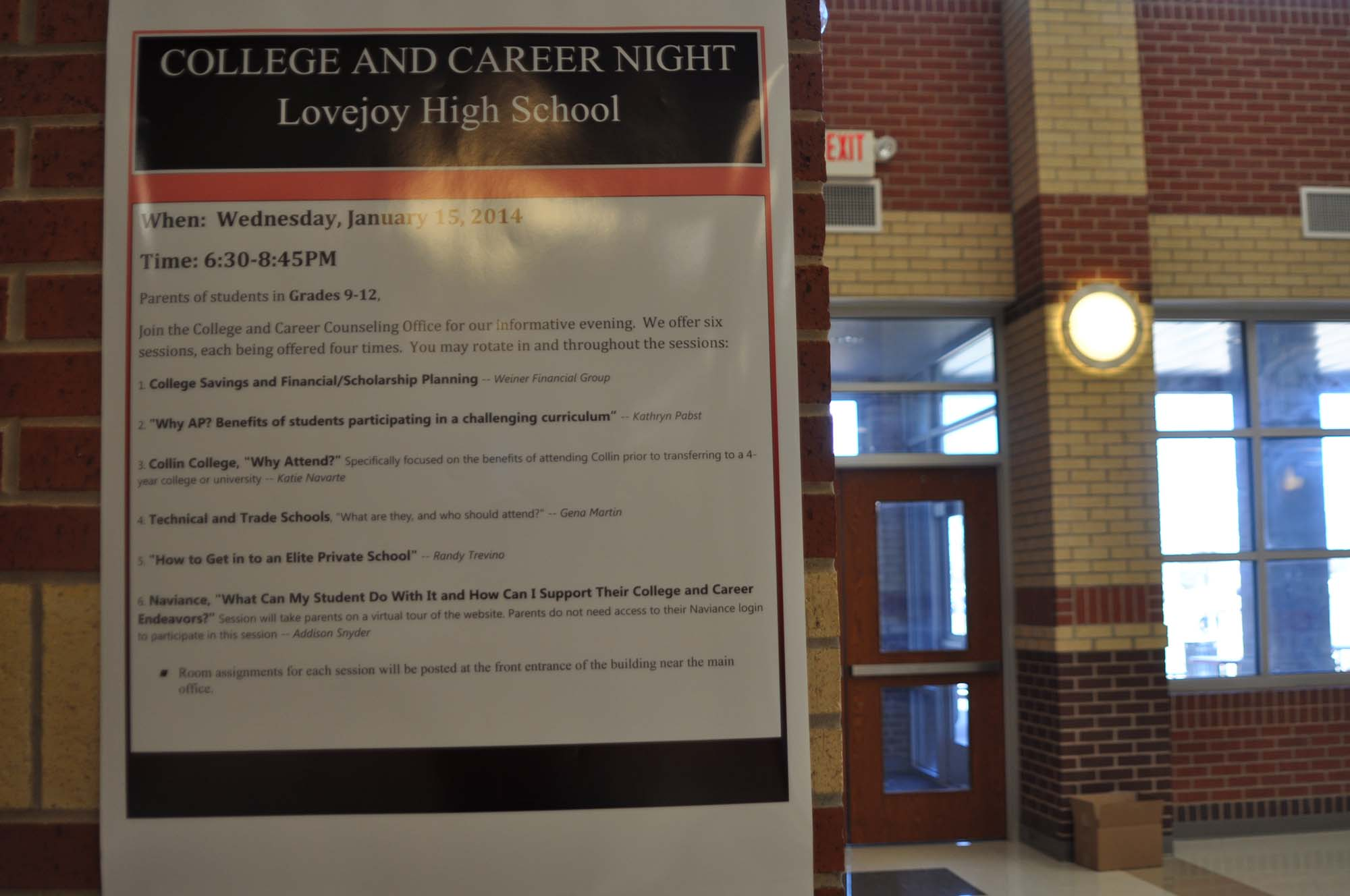 The college and career counselors will be holding the first annual college and career night on Wednesday, January 15.