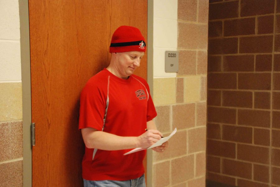 Teacher Michael Voth wears his Canada hat in support of his native nation in the winter Olympics.