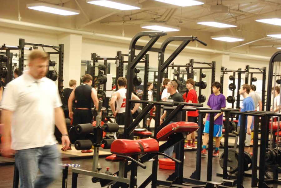 Both the weight room and field area of the indoor facility are usually crowded due to a multitude of sports with the same practice times.