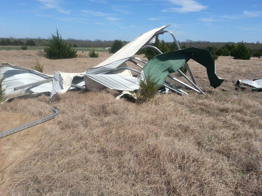 After the recent storms, Andersons barn was completely destroyed with different parts blown all over his yard.