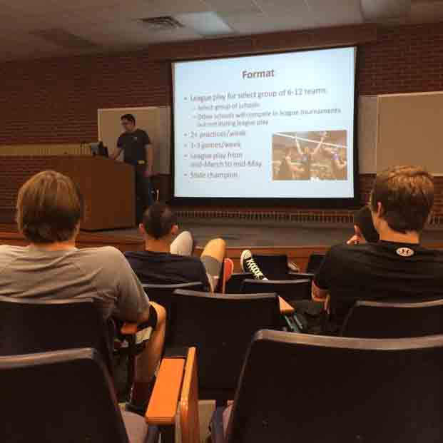 On May 13, boys interested in playing volleyball attended an informational meeting in the lecture hall.
