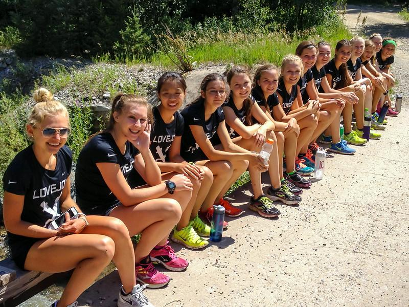 The varsity girls take a break after the mountain challenge in Taos, New Mexico.
