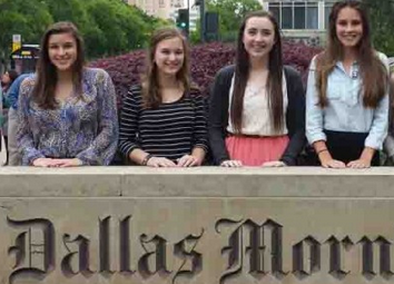 Named the Best Website by The Dallas Morning News, members of the editorial staff of The Red Ledger stand outside the DMN in downtown Dallas. From left to right are Managing Editor Michelle Stoddart, Editor-in-chief Jillian Sanders, Managing Editor Caroline Smith and Editor-in-chief Hallie Fischer.