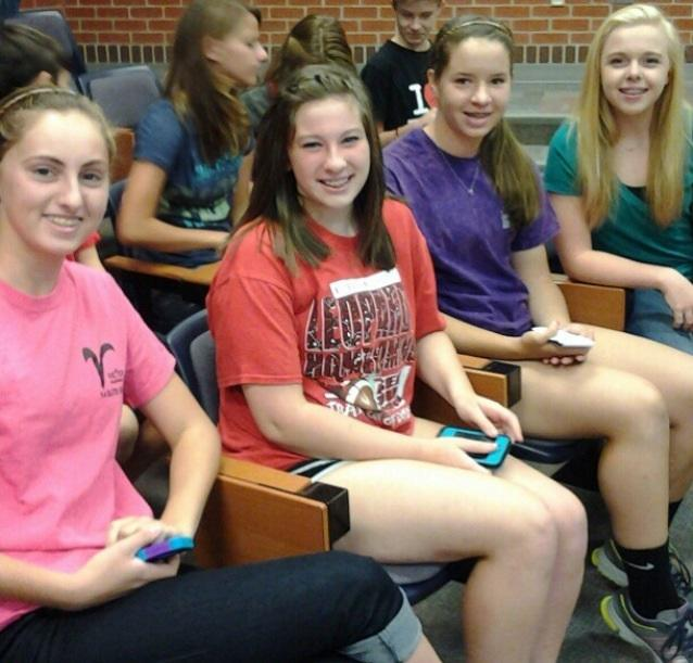 Students Taylor Carty, Katie Sawyers, Natalie Kilpatrick, and Shannon Wilcox take part in Freshmen Founder's Day last year.