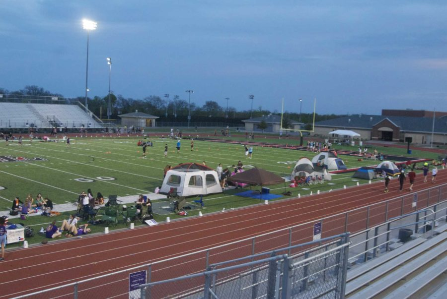 With+tents+set+up+on+the+field%2C+dozens+of+students+spend+the+night+at+the+football+field+as+part+of+the+Relay+for+Life+fundraiser.