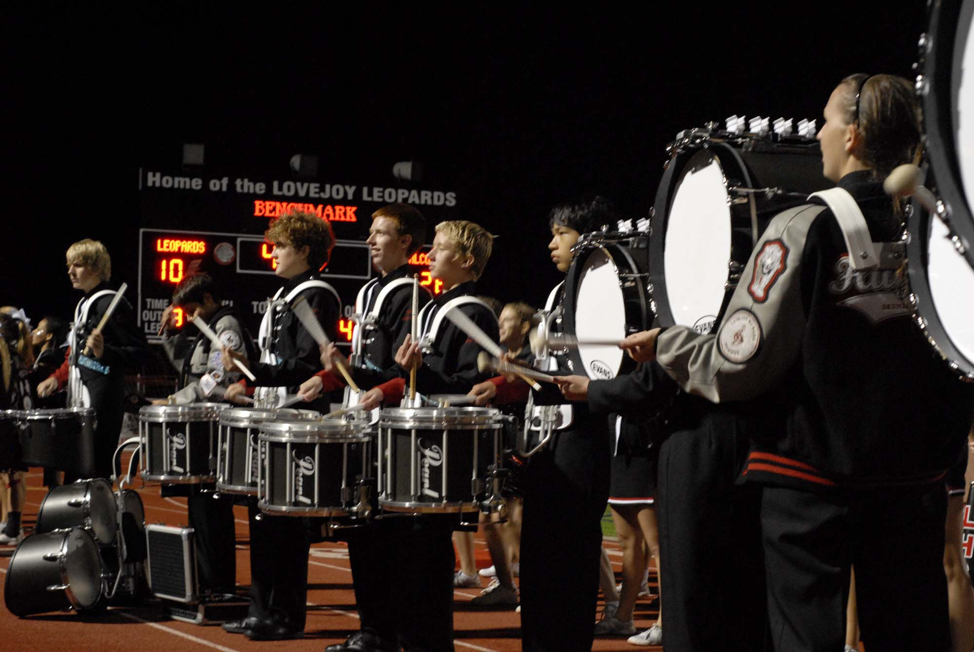The drum line plays