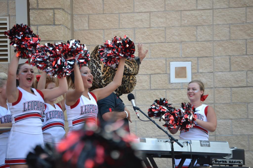 The community rallies around the Leopard football teams and clubs by coming to the courtyard before football's game against Lake Dallas.