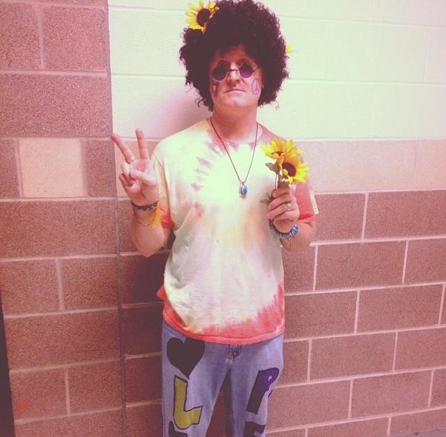 Teacher Ray Coop dressed in 1970s gear for last years Decades Day.
