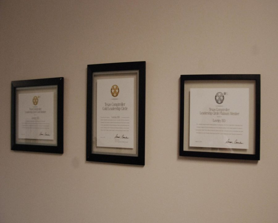 Showcased on a wall inside the school districts administration building are the three  financial recognition awards recently given to the Lovejoy ISD. The awards signify sound financial decisions made within the district.