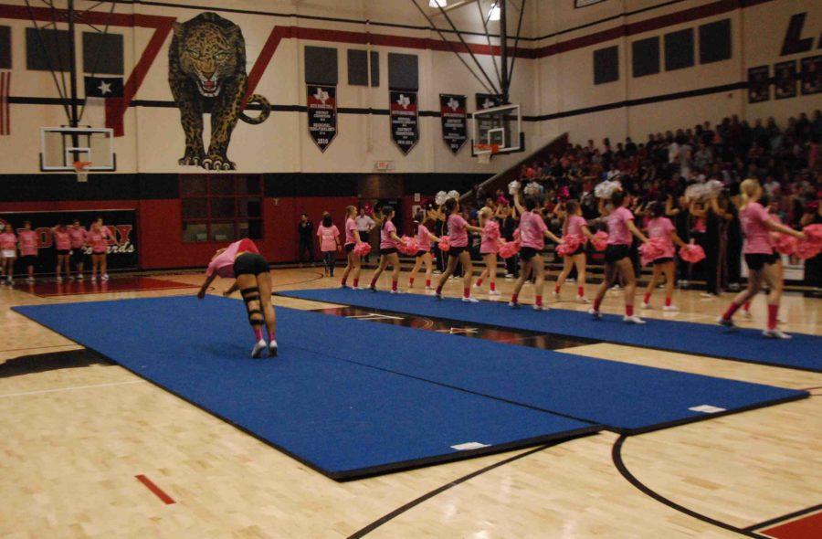 Cheerleaders throw round-off back-handsprings to impress the crowd during the Pink Out pep rally on Oct. 17, 2014.