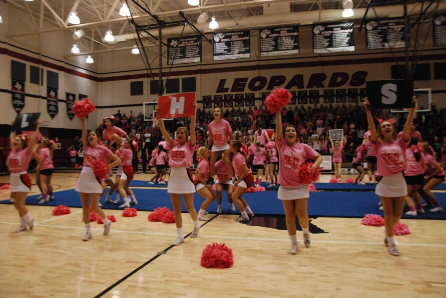 The cheerleaders wear pink-out shirts and use pink pom-poms to spread breast cancer awareness to the Pink Out pep rally on Oct. 17, 2014. With cheers, stunts, tumbling, and customized signs, they lead the pep rally with a cheer containing the school initials.