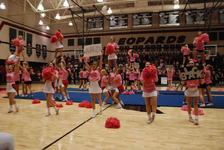 The cheerleaders, wearing pink-out shirts and using pink pom-poms in support of breast cancer awareness, lead the students in shouting the schools colors during the Pink Out pep rally on Oct. 17, 2014.