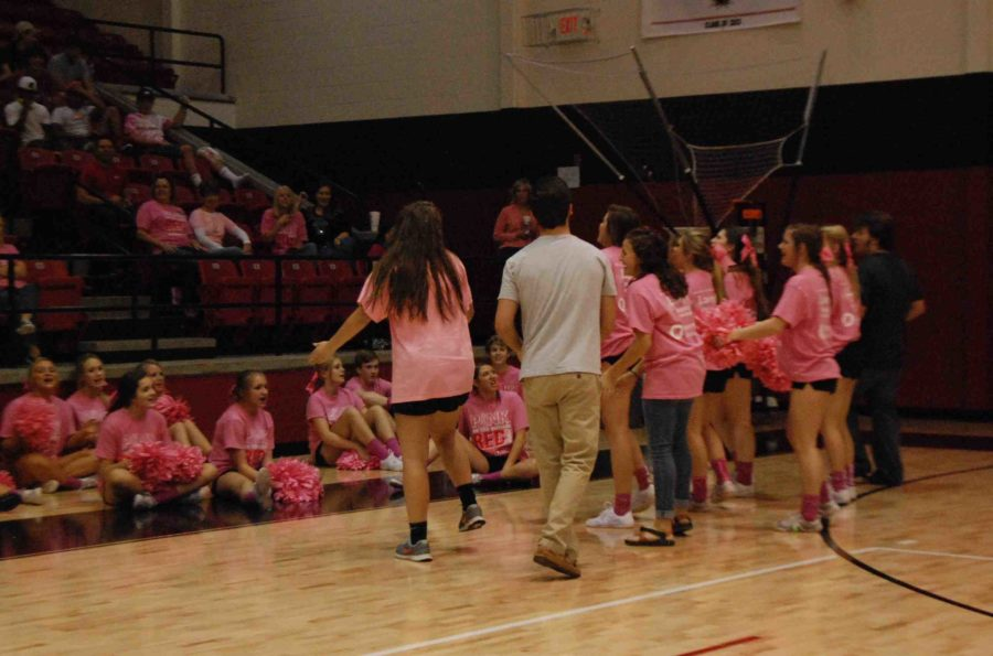 Sophomores create and perform a cheer in a spirit competition in Pink Out pep rally on Oct. 17, 2014.