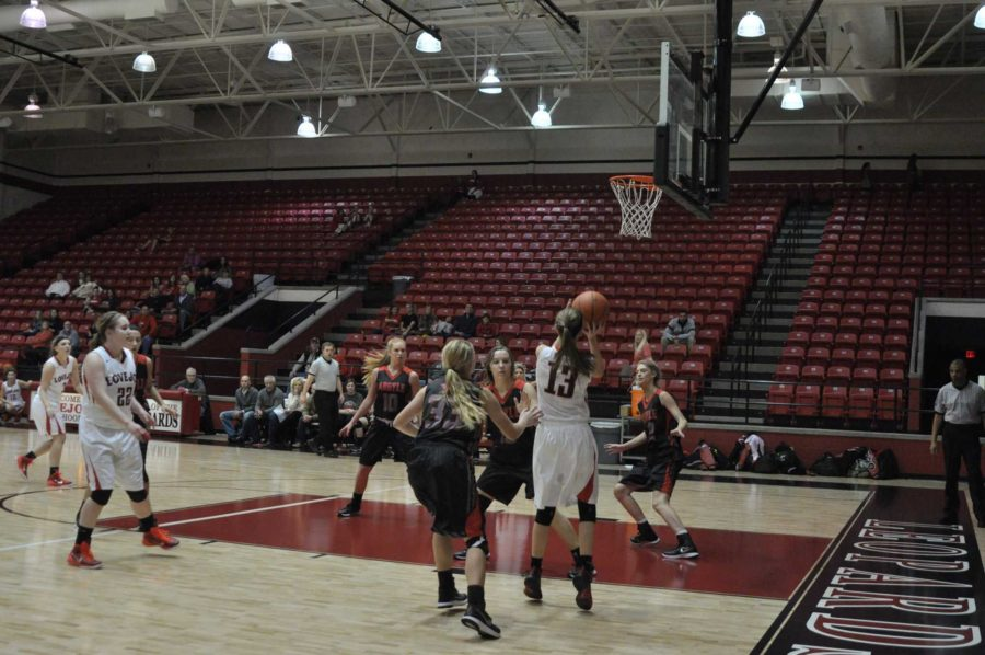 Freshman Taylor Meixelsperger dribbles in close the basket to score for the leopards