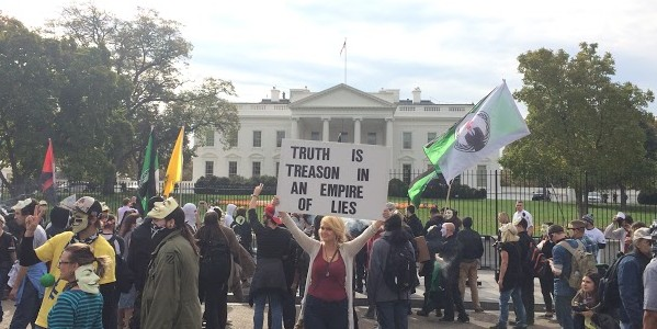 The 3rd annual Million Mask March took to Washington, D.C. on Wednesday, November 5, 2014. In front of the White House protesters voiced their opinions on SWAT raids, the NSA, and the Bill of Rights.