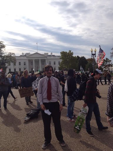 There was a large group of masked protesters in front of the White House expressing their strong opinions about the government and how it is run. This was the first year of the million masked march, which is practiced internationally.