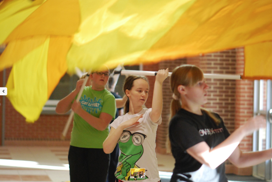 While the fall season for color guard is over, the guard continues to practice multiple times per week for the winter competitions.