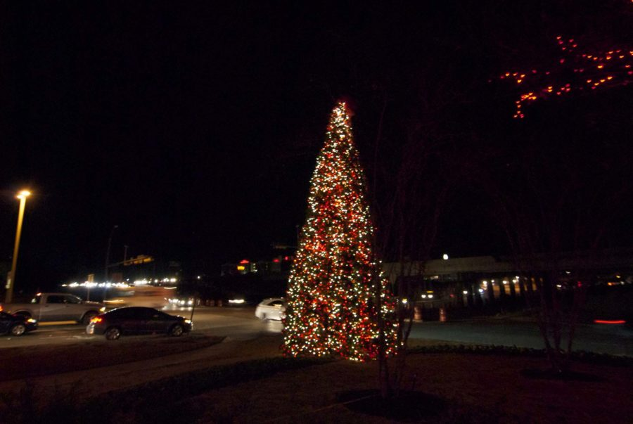 This tree sits in front of Watters Creek to celebrate the holiday season.