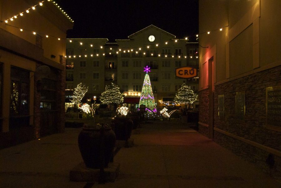 Walking to the center of Watters Creek presents a display of lights and holiday-themed decorations.