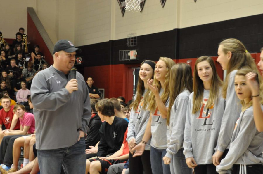 Coach Cox asks Senior Rachel hise about the girls basketball record and upcoming games.