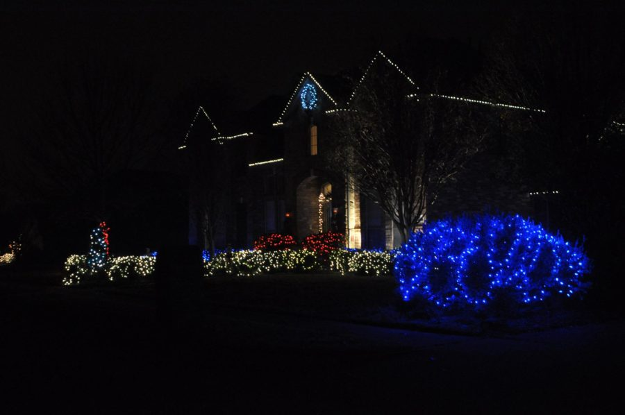 Located in Country Brook the mixture of cream, red and bright blue lights is a beautiful sight