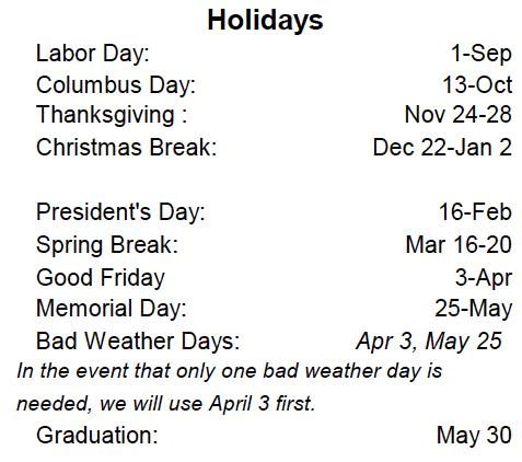 School Religious Calendar