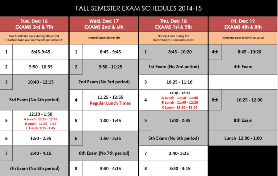 Fall 2014 exam week schedule