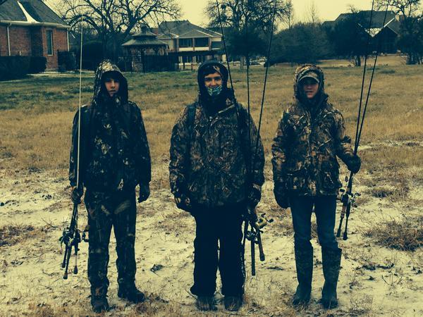 Lovejoy fishing club members freshmen Daniel Helsley and Ethan LeGare and 8th grader Sam Harrison went fishing despite freezing temperatures.