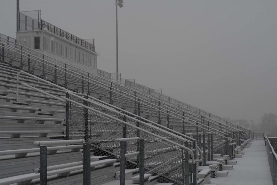 On Wednesday, February 25, 2015, the stands at Leopard Stadium is covered with snow and ice.
