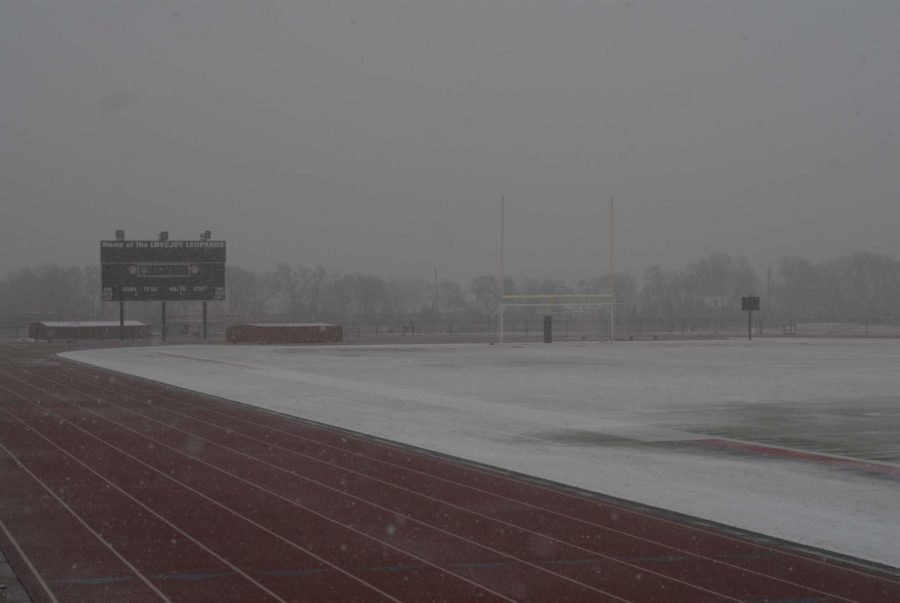 Despite the field at Leopard Stadium being covered with snow and ice on Wednesday morning, the girls varsity soccer game is still scheduled to take place at 6 p.m.