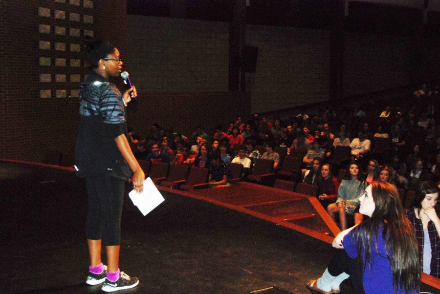 Relay For Life committee member, Donnelle Branche, lead the presentation in the auditorium during A, B, and C lunches.