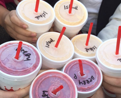 Thanks to freshman Jessica Lucé's social media love for Smoothie King, the cheerleaders received free smoothies this morning from Smoothie King.