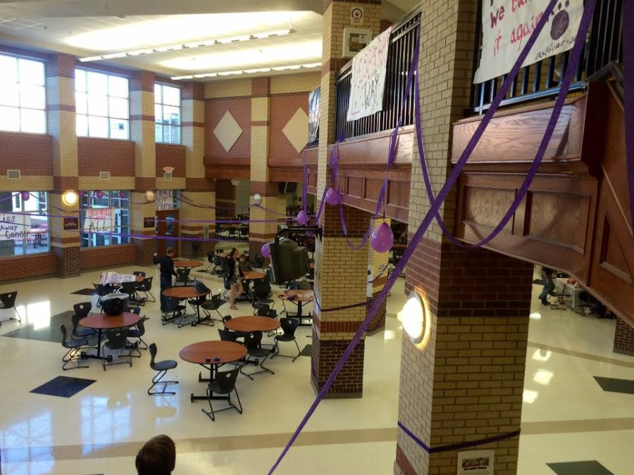 Students+were+surprised+when+they+found+the+commons+were+covered+in+purple+in+honor+of+Relay+For+Life+to+benefit+cancer.+