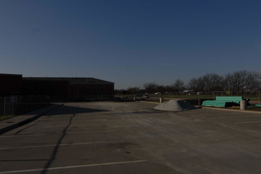 Construction on the West parking lot continues to extend the Fine Arts Wing of the school.