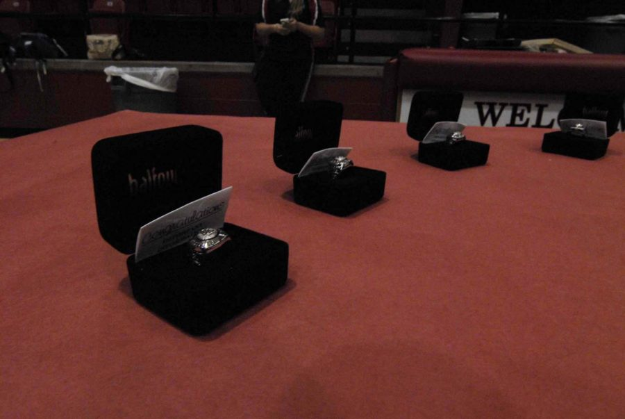 Some of the rings are laid out for the players to take them on March 25, 2015.