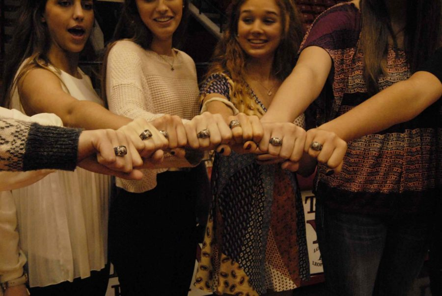 Some of the volleyball team poses with their state rings.