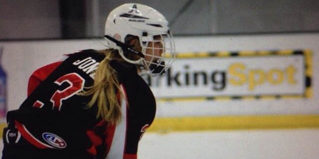 Freshman Sydney Jones plays for the school hockey team which is usually male dominated.