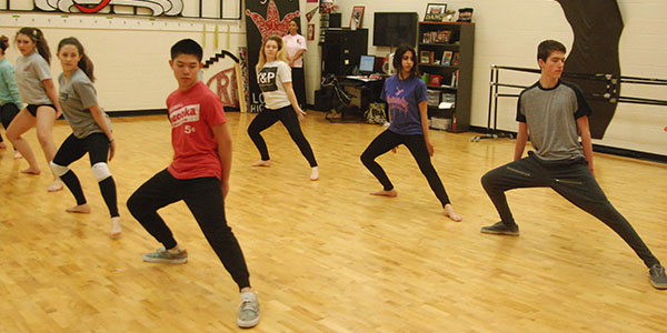 As the only two guys in the studio dance program, sophomores Tyler Le and Cannon Meyer practice with the girls most days, but also spend some class time working on their own routine.