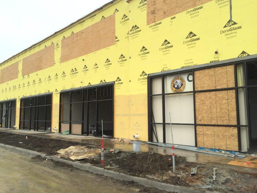 Einstein Bagel Bro. building while under construction in Allen.