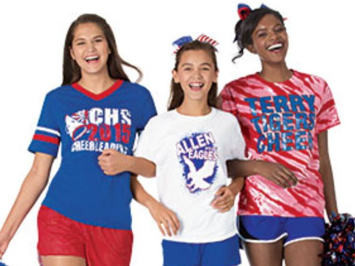 Freshman Jacqueline Genovese (left) models for a cheerleading company.
